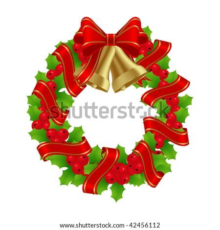Cristmas Wreath for Winter Holydays Designs. Vector illustration. - stock vector