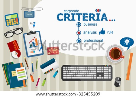 Criteria regulation generality business marketing concept. Criteria concepts for web banner and printed materials. - stock vector
