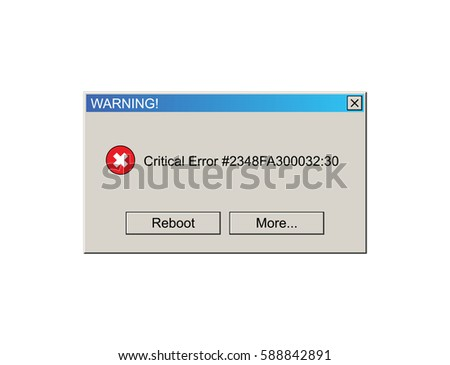Critical Error Warning Message. Vintage User Interface. Vector Illustration.