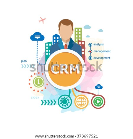 CRM - Customer Relationship Management concepts for web banner and printed materials.