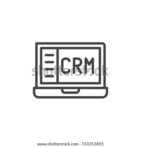 Crm Notebook Line Icon Outline Vector Stock Vector Hd Royalty Free