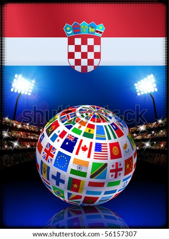 Croatia Flag Globe on Stadium Background Original Illustration
