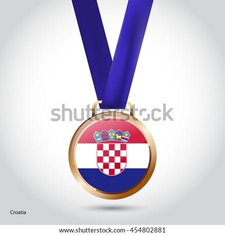 Croatia Flag in Bronze Medal. Olympic Game Bronze Medal. Vector Illustration - stock vector