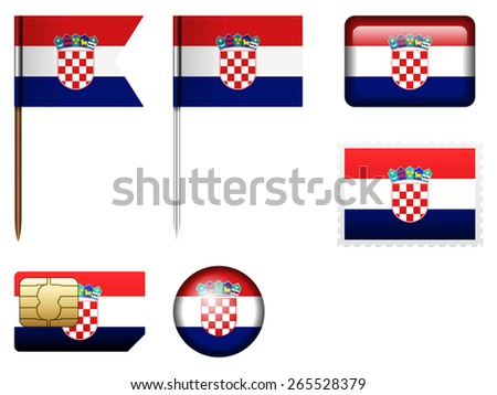 Croatia flag set on a white background.  - stock vector