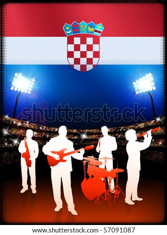 Croatia Flag with Live Music Band on Stadium Background Original Illustration - stock vector