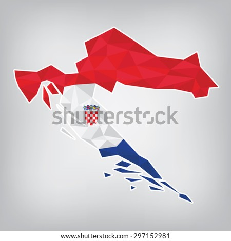 Croatia Low Poly Map - stock vector