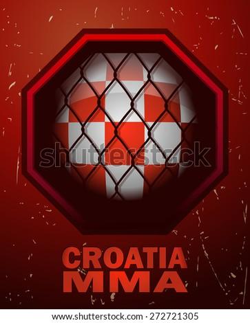 Croatia MMA Octagon Sign, Vector Illustration.  - stock vector