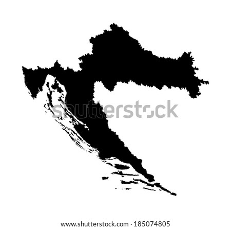 Croatia vector map high detailed, isolated on white background. Black illustration silhouette. - stock vector