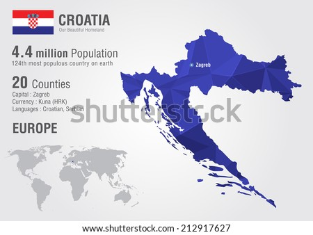 Croatia world map pixel diamond texture stock vector 212917627 croatia world map with a pixel diamond texture world geography gumiabroncs Images