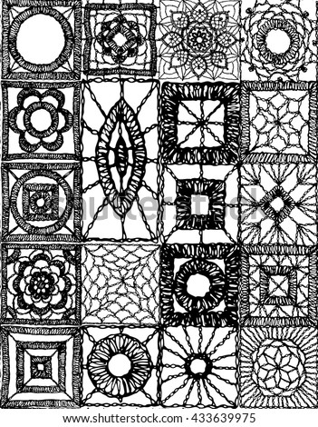 Crochet lace elements of the square - stock vector