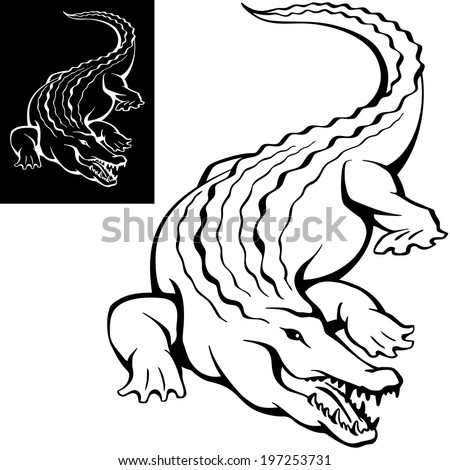 crocodile, alligator with open mouth with teeth, lies on the shore, symbol, isolated figure, vector illustration - stock vector