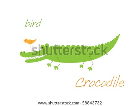 Crocodile and bird are friends, illustration for card design - stock vector