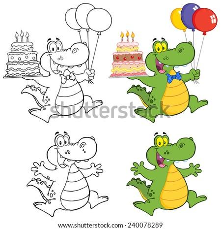 Crocodile Cartoon Mascot Characters. Vector Collection Set - stock vector