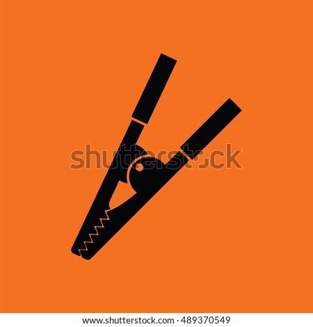 Crocodile Clip Icon Orange Background With Black Vector Illustration