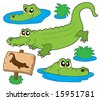 Crocodile collection on white background - vector illustration. - stock vector