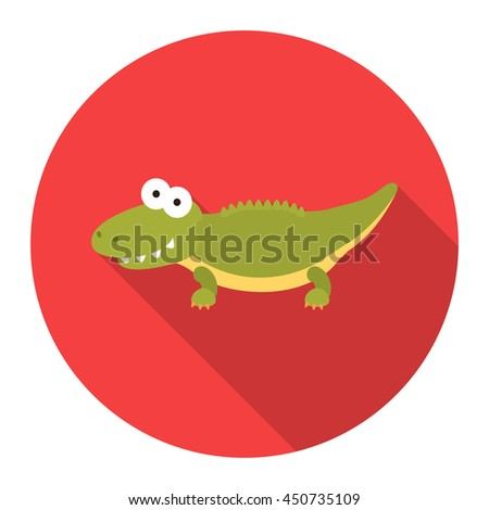 Crocodile icon flat. One icon of a large plumbing collection. - stock vector
