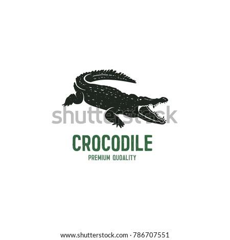 Crocodile Logo Template Symbol Of Alligator With Text Wild Animal Typography Badge