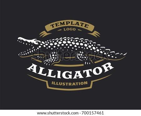 black crocodile logo. crocodile logo - vector illustration. alligator emblem design on black background g