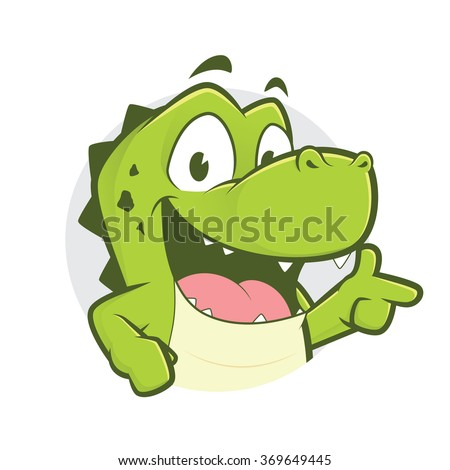 Crocodile or alligator with gun finger gesture and circle shape - stock vector