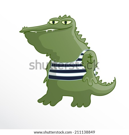 Crocodile-sailor, cartoon, caricature.