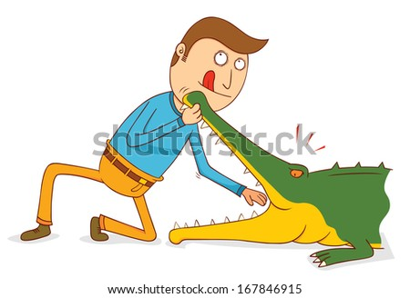 Crocodile Show-Do not try this at home - stock vector