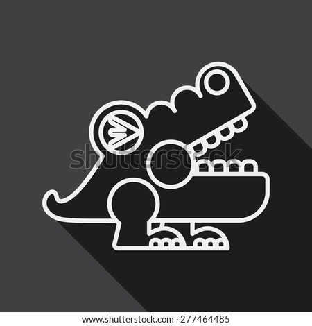 crocodile toy flat icon with long shadow, line icon - stock vector