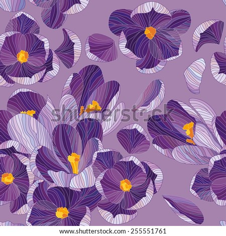 Crocus seamless pattern. Color floral texture. Lines vector illustration. Cute spring flowers. Endless background. - stock vector