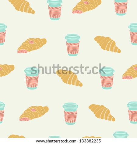 Croissant and coffee seamless colorful pattern - stock vector