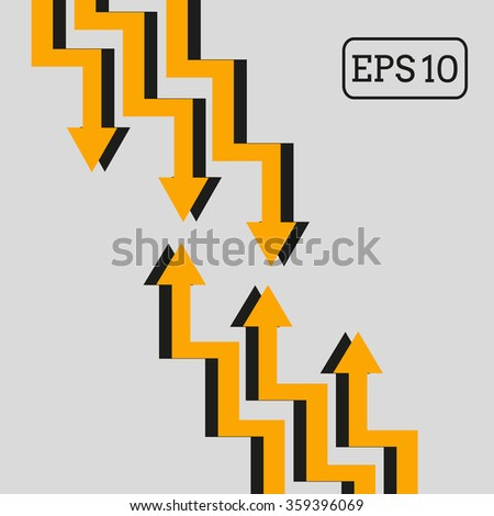 crooked arrows aimed at each other(vector eps10) - stock vector