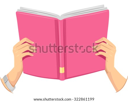 Cropped Illustration of a Girl Holding an Open Book - stock vector