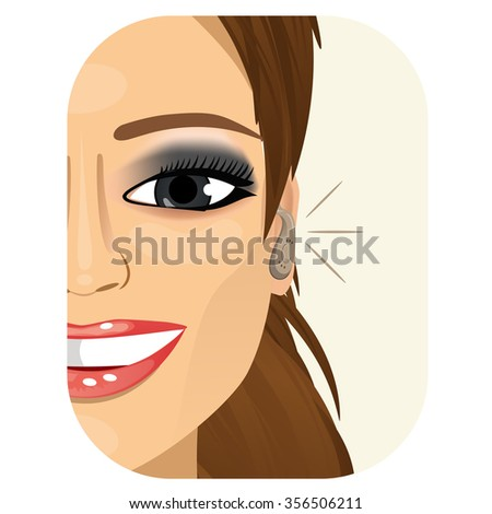 cropped illustration of a smiling woman wearing a hearing aid - stock vector