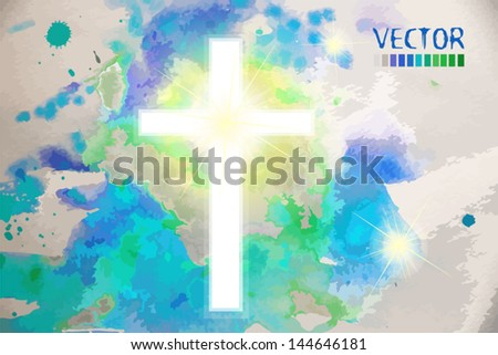 cross against the sky - stock vector