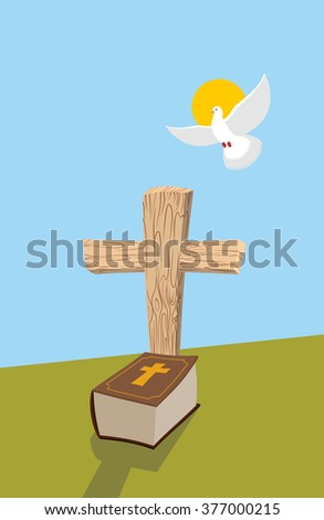 Cross and Bible. Christian grave. Soul of man in form of white dove flies in  heavens. Allegorical figure of religious theme - stock vector
