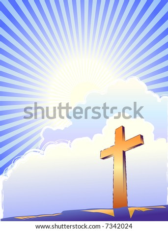 Cross and bright light over a sunburst sky. - stock vector