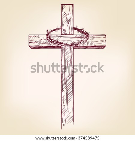 cross and crown of thorns, a symbol of Christianity hand drawn vector llustration realistic sketch - stock vector