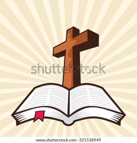 Cross and open Bible - stock vector