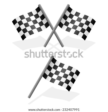 Cross and single racing flags with shadow - stock vector