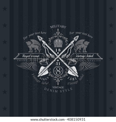 Cross Arrows With Ribbons and Two Lions. Military Heraldic Label On Blackboard - stock vector