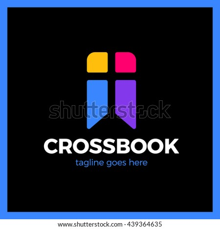 Cross Bookmark Logo. Bible Book Logotype. Simple Church Logos Colorful - stock vector