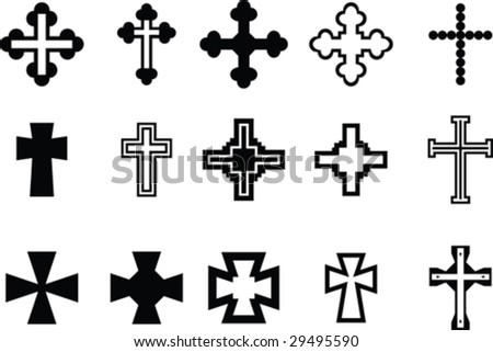 Cross collection - stock vector