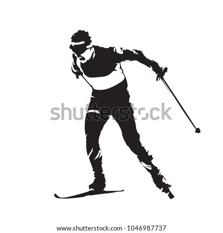 Cross Country Skiing Individual Winter Sport Skier Abstract Vector Silhouette