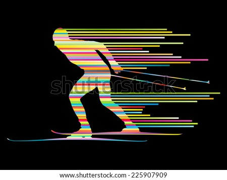 Cross country skiing vector background concept man made of stripes - stock vector