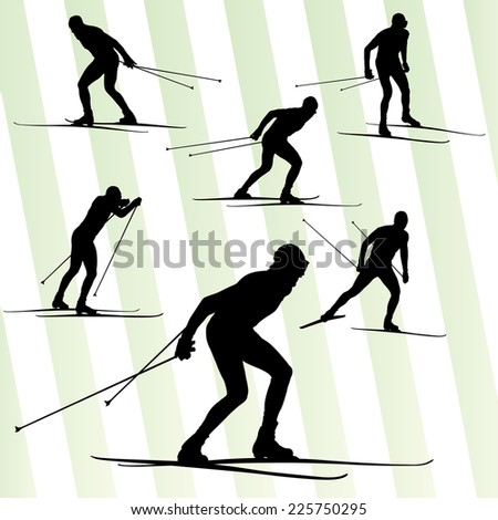 Cross country skiing vector background set - stock vector