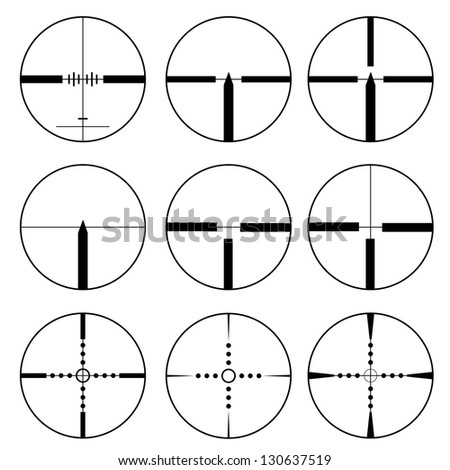 Cross hair and target set. Vector��� illustration. - stock vector
