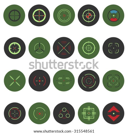 Cross-hair icons set in flat design. Illustration EPS10 - stock vector