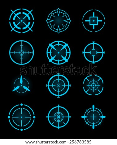 Cross-hair icons. Vector. - stock vector