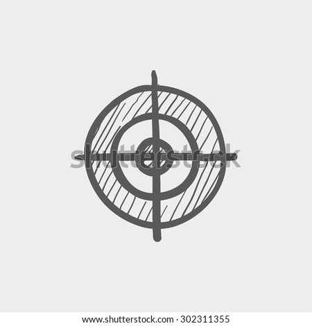 Cross hair target sketch icon for web and mobile. Hand drawn vector dark gray icon on light gray background. - stock vector
