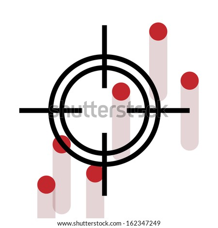 Cross Hair with bleeding gun shots - stock vector