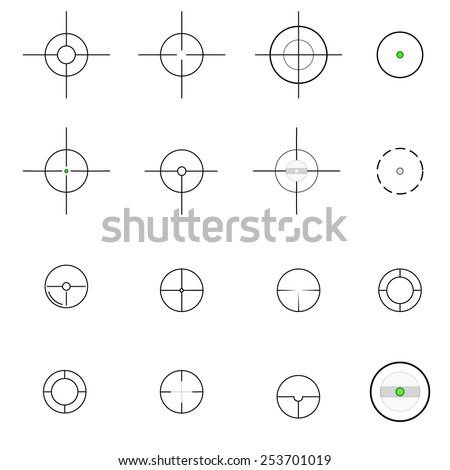 Cross hairs icons. Vector.