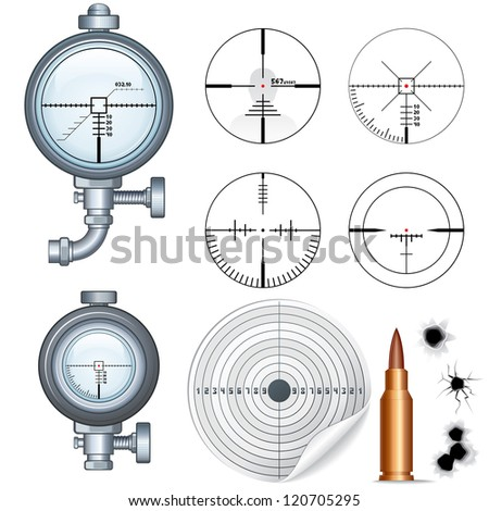 Cross hairs Set. Illustrations of Sniper Target Scopes, Optic Sight, Cross hairs, Target and Bullet Holes. Isolated on White Background - stock vector